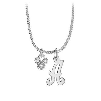 Disney Silver Initial Crystal Mickey Mouse Necklace | Disney Store