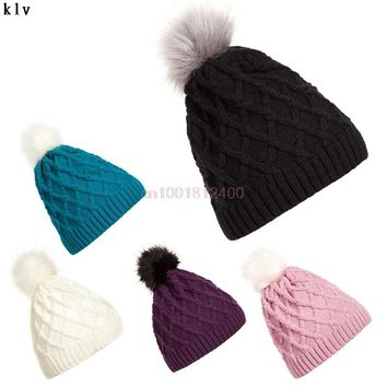 Fashion Women Lady Faux Fur Ball Winter Warm Crochet Knitted Hat Pom Cap Beanie
