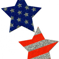 """""Rockstar Stars & Stripes Red: Rockstar Stars & Stripes Red, White, Blue Pasties O/S"