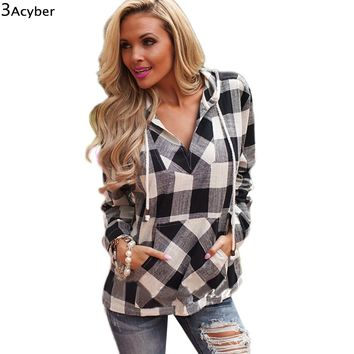 2017 Women Hoodies Sweatshirt Spring Cotton Long Sleeve Balck Red Women Plaid Hoodies Shirt Fit Blouse Plus Size Sweatshirt Top