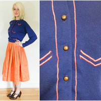 50s 60s vintage cardigan / chevron long sleeve sweater / warm winter fall rockabilly copper buttons / blue and red retro military cashmere