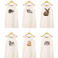Animal-5 Printed Vintage 100% Cotton Linen Mini Shift Dress WDS_01