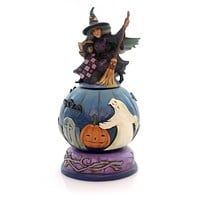 Jim Shore MISCHIEF IS A-BREWING FIGURINE Witch Graveyard Black Cat 4051547