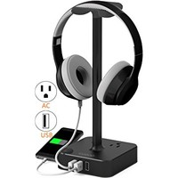 Headphone Stand with USB charger COZOO Desktop Gaming Headset Holder Hanger with 3 USB Charging Station and 2 Outlets Power Strip - Suitable For Gamer, DJ, Wireless Earphone Display