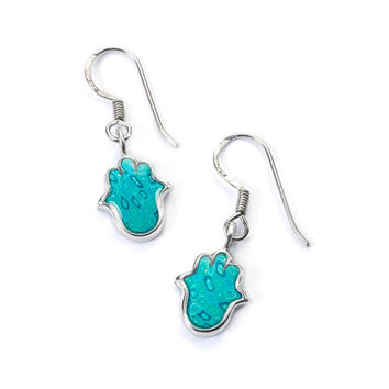 Turquoise Hamsa Hand - Handcrafted Earrings in Sterling Silver - Israeli Jewelry - FREE SHIPPING