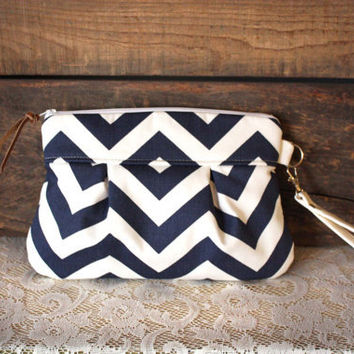 Pleated Chevron Wristlet/ Pouch/ Clutch// Nautical stripe / Navy/White color--MADE TO ORDER--