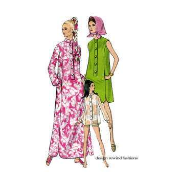 1960S BATHING SUIT COVERUP Pattern Mandarin Collar Dress Caftan Pattern Swimsuit CoverUps Vogue 7315 Bust 36 Vintage Womens Sewing Patterns