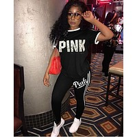 PINK Victoria's Secret Women Casual Fashion Shirt Top Tee Pants Trousers Set Two-Piece Sportswear