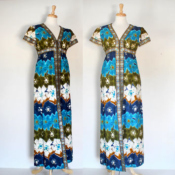 Vintage 60s 70s Boho Hippie Hostess Maxi Dress / Polynesian Inspired