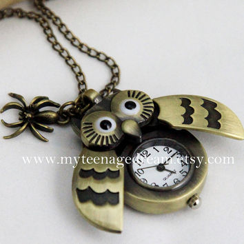 antique brass owl locket pocket watch necklace  by MyTeenageDream