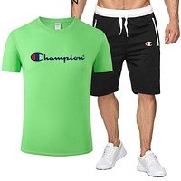 Champion Fashion New Letter Print Top And Shorts Sports Leisure Two Piece Suit Men Green