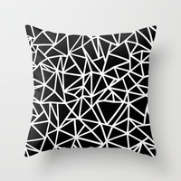 Abstract Outline Thick White on Black Throw Pillow by Project M