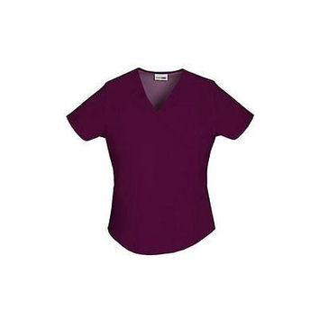 ScrubStar Women's Essentials Mock Wrap Scrub Top, Small, Wine, 90003