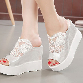 Lace Peep Toe Shoes Thick Crust Wedge High Heel Slippers [6047222401]