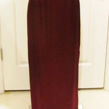 Maxi Skirt Long Skirt Silky Skirt Vintage Skirt Burgundy Skirt Maroon Skirt Vintage Clothing 90s Fashion 90s Skirt Ladies Skirt 90s Style