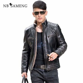 Warm Motorcycle Business Casualmens Sheepskin Leather Jackets Coats Fur Collar Men Genuine Leather Jacket