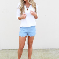 Little Scalloped Shorties {Stonewash Blue}