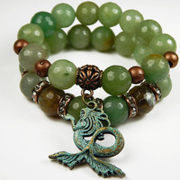 Beaded Double Stack Stretch Bracelet Set With Bronze Patina Mermaid Charm And Green Agate Beads - 7 Inch - Beaded Jewelry
