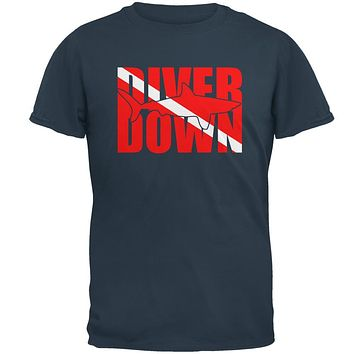 Diver Down Megalodon Shark Mens T Shirt