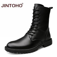 Genuine Leather Mens Winter Shoes Mid-Calf Male Leather Boots Winter Work Safety Boots Black Mens Military Boots