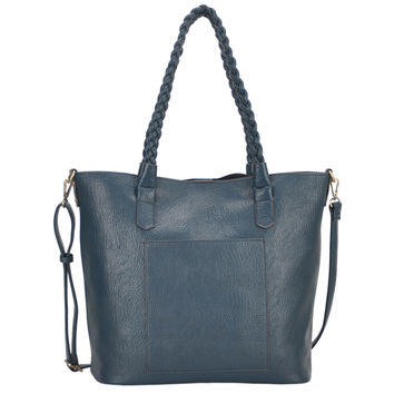 Mechaly Women's Evie Teal Blue Vegan Leather Tote Handbag