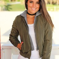 Olive Bomber Jacket with Gray Hood