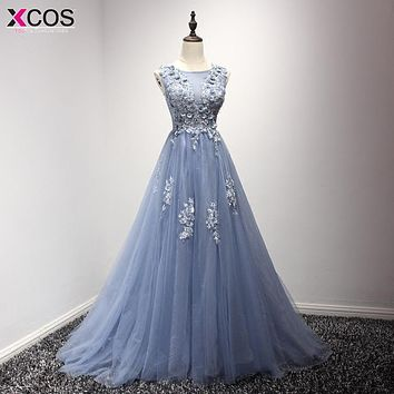 2017 Blue Beaded Pearls Appliques Long Prom Dresses Robe De Soiree Floor Length Party Evening Dress