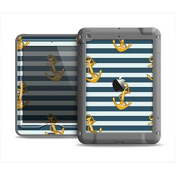 The Navy Striped with Gold Anchors Apple iPad Mini LifeProof Nuud Case Skin Set