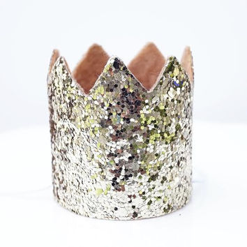 Gold Glitter Sparkles Birthday Boy or Girl Hat Party Crown Toddler Smash Cake Photo Prop