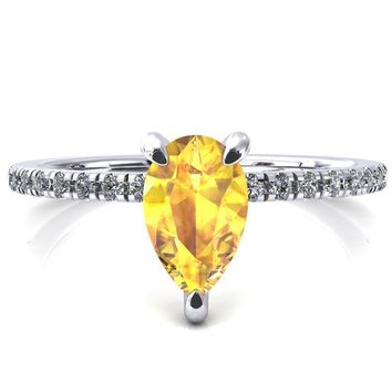 Ezili Pear Yellow Sapphire 3 Claw Prong Micro Pave Diamond Sides Engagement Ring