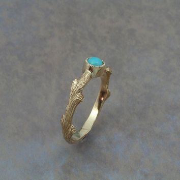 Twig Ring In 14k yellow gold with turquoise
