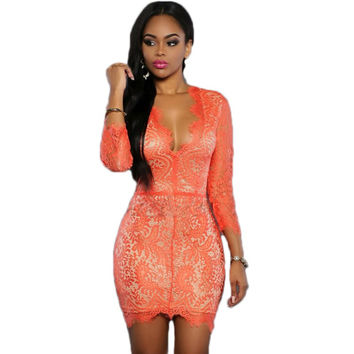 RV80264 V neck orange/red/black see through women lace dress backless bodycon dress 2016 hot sale erotic mini sexy club dress