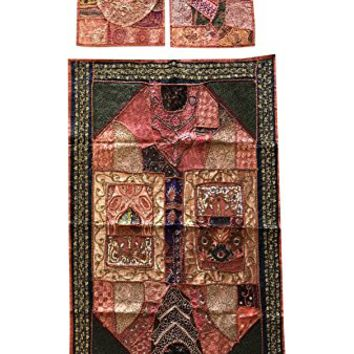 Mogul Interior Indian Banjara Wall Tapestry With Cushion Cover Beaded Patchwork Decorative Throw Wall Hanging