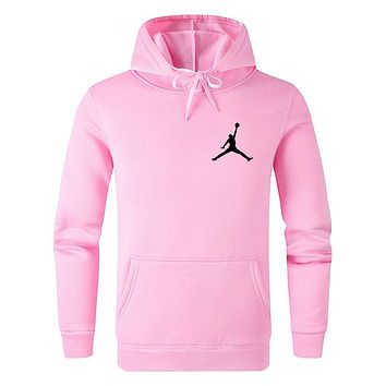 Jordan Autumn Winter Women Men Print Long Sleeve Hoodie Sweater Top Sweatshirt Pink