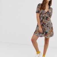 Pull&Bear button through dress in animal print | ASOS