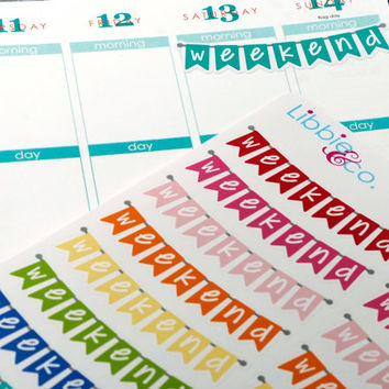 Rainbow Weekend Banner Life Planner Die-Cut Stickers! Set of 22 Perfect for the Erin Condren Planner!!!