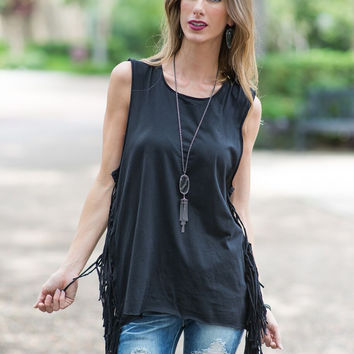 Ready to Ride  Fringe Moto Tank (Black)