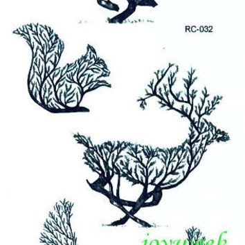 Waterproof Temporary Tattoo Sticker tree wolf squirrel deer bird tatto stickers flash tatoo fake tattoos for girl women men
