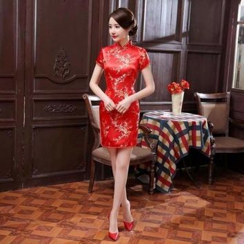 Red Classic Traditional Chinese Qipao Summer Sexy Vintage Cheongsam Flower Satin Mini Dress