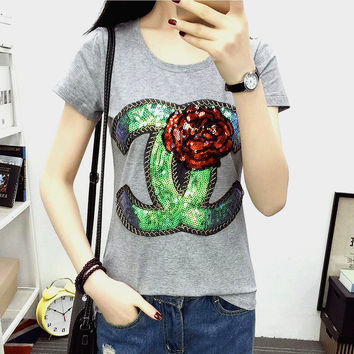 Fashion Hot Sale  Chanel Embroidery Rose T-shirt Top Pink