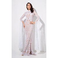 Longing For Love White Lace Glitter Extra Long Sleeve Mock Neck Bodycon Mermaid Maxi Dress