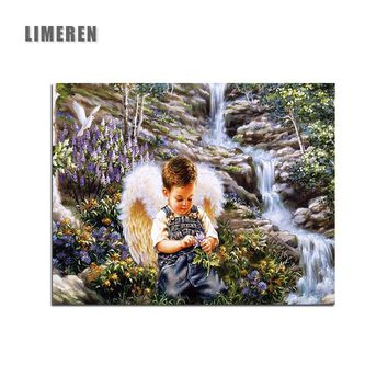 DIY Oil Painting By Numbers Frameless Paint On Canvas Modern Wall Pictures For Living Room Wall Art Home Decor Angel Boy