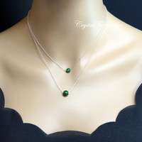 Tiny Jade Necklace - Sterling Silver Layered Necklace - Emerald Jade Pendant - May Birthstone -   Jade Choker - Jade Jewelry -  multi strand