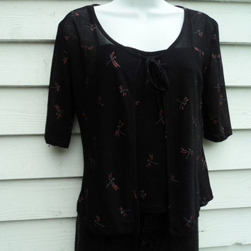 90's Black Spaghetti Strap Tank and Sheer Sweater Set with Dragonfly glitter print