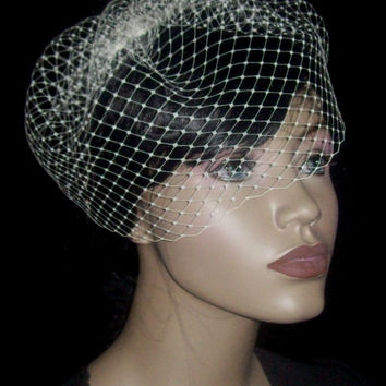 Ivory Birdcage Veil Vintage Wedding French Netting Bird cage veil 10in high