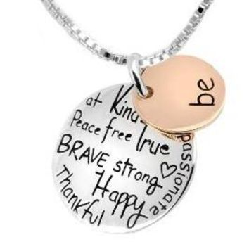 "Two-Tone ""Be"" Graffiti Charm Silver Plated Pendant Necklace"