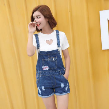Overalls Denim Shorts Women Ripped Design 2016 Summer New Fashion Patched Pattern Ladies Overall Jean Shorts Free Shipping