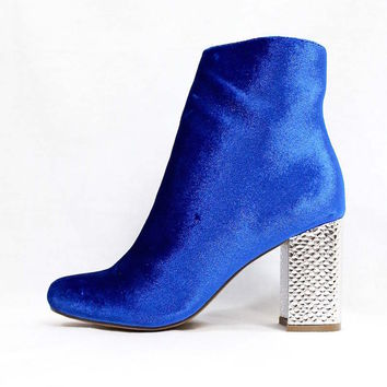 Republic Fatin Royal Blue | Wowtrendz | Velvet Round Toe Booties