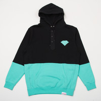 Emblem Split Henley Hoody in Black/Diamond Blue