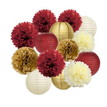 Burgundy, Gold, Cream Party Pom Poms & Lantern Set-Birthday Party| |Moms Birhtday |Burgundy Bridal Shower |Burgundy Gold Backdrop Wedding